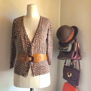 Cute NY&CO Leopard Cardigan Sweater Sz XS
